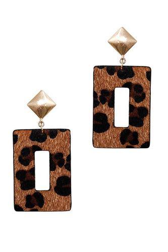 Modern Rectangle Leopard Fur Dangle Drop Earring