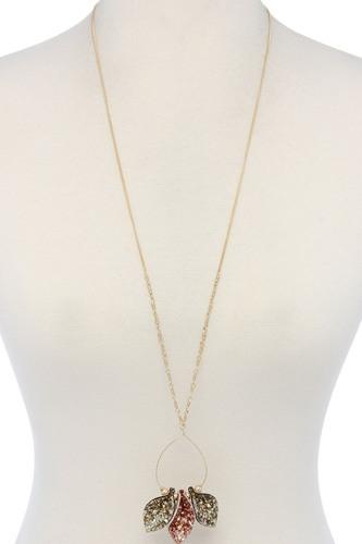 Glitter Teardrop Shape Pendant Necklace