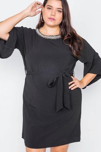 Plus Size Black Beaded Neckline Mini Dress