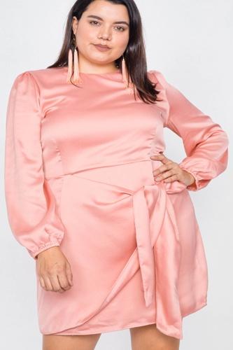 Plus Size Silk Mock Wrap Square Neck Mini Dress