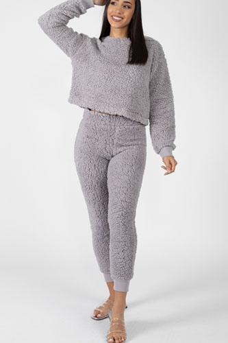 Faux Fur Cropped Top & Elasticized Pants