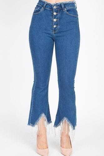 Rhinestone Fringed Flare Skinny Jeans