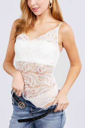 W neck w/scallop detail cami lace bodysuit