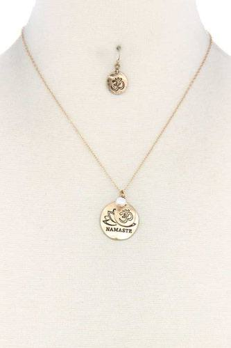 Namaste Engraved Pendant Necklace