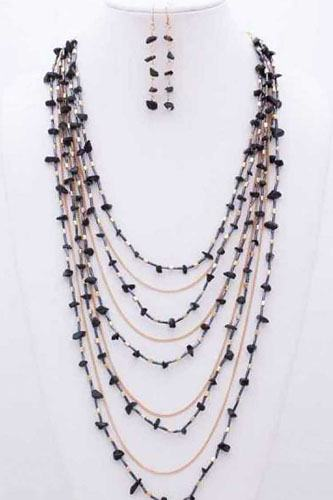 Gem Stone N Bead Multilayered Necklace