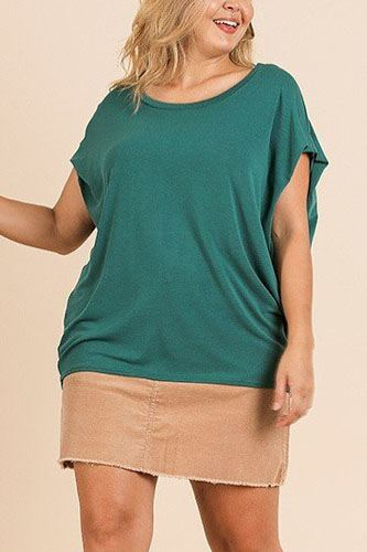 Short Dolman Sleeve Scoop Neck Top