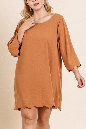 3/4 Sleeve Round Neck Dress