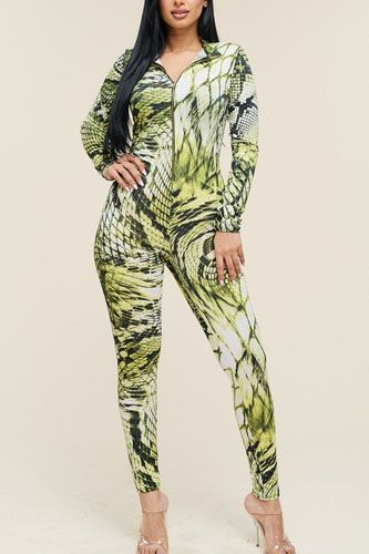 Multi Color Print Long Sleeve Zipper Front Jumpsuit