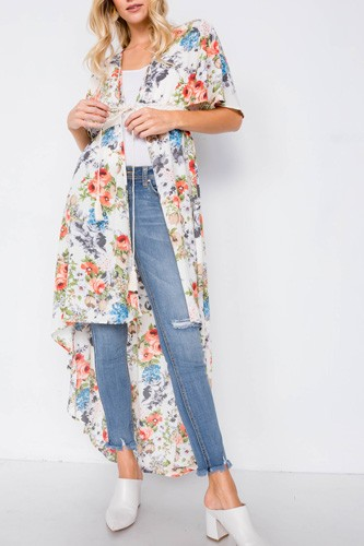 Ivory Rose & Blue Floral Print High-low Kimono Cover-up