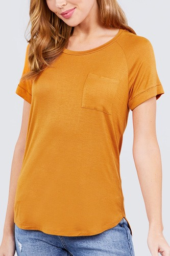 Short Raglan Sleeve Round Neck W/pocket Rayon Spandex Top