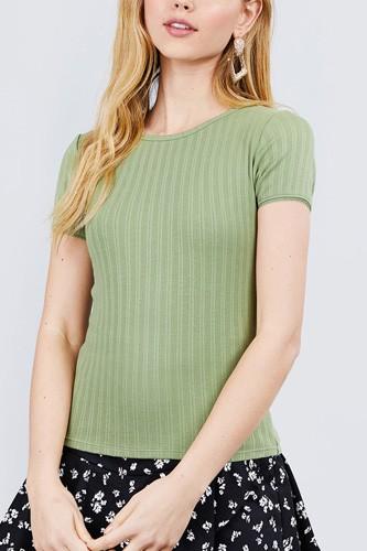 Short Sleeve W/lace Trim Detail Crew Neck Pointelle Knit Top