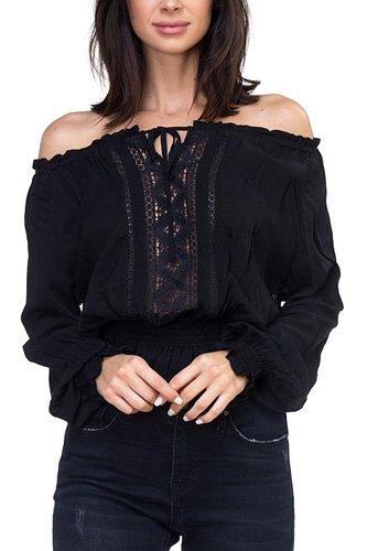 Off Shoulder Embroidered Shirt