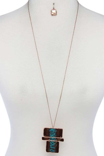 Rectangular Shape Pendant Necklace