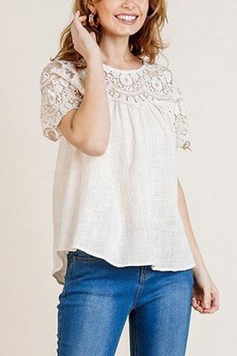 Sheer Floral Short Sleeve Lace Yoke Keyhole Top