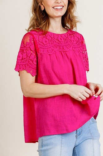Sheer Floral Short Sleeve Lace Yoke Keyhole Top