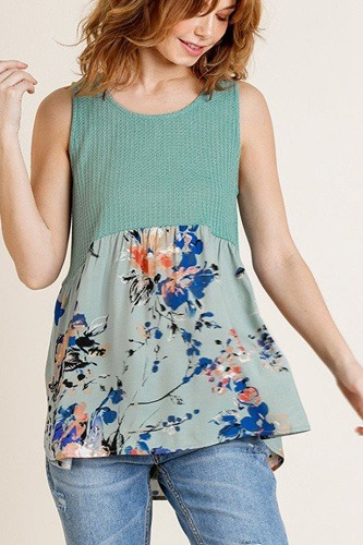 Sleeveless Waffle Knit Round Neck Tank Top