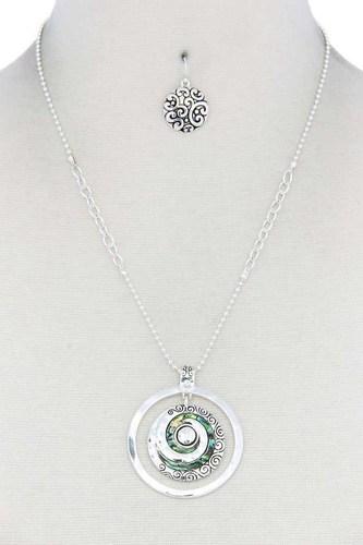 Abalone Swirl Metal Circle Pendant Necklace