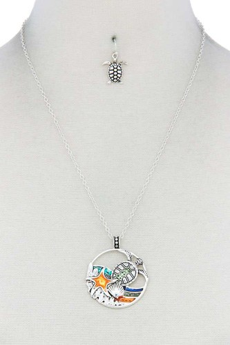 Sea Turtle Wave Pendant Necklace