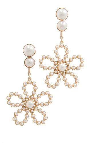 Flower Shape Post Drop Earring