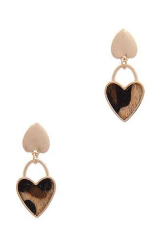 Faux Fur Double Heart Post Drop Earring