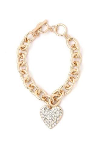 Rhinestone Heart Shape Metal Bracelet