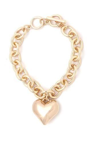 Puffy Heart Metal Charm Metal Bracelet