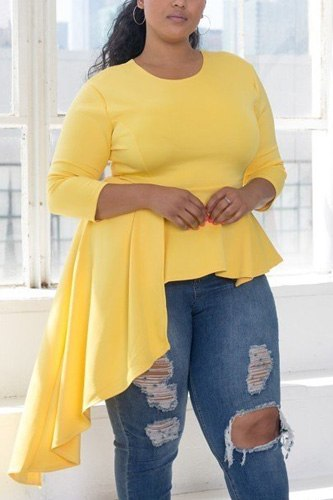 Plus Size Asymmetrical Plume Blouse