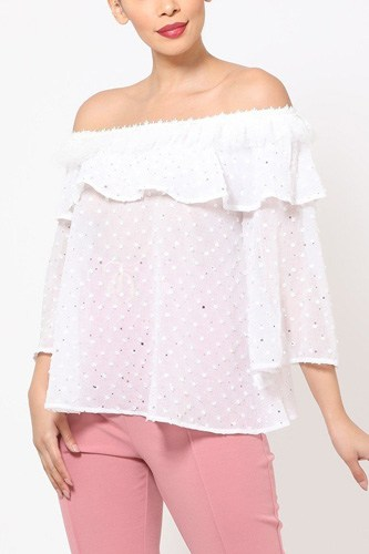 Polka Dot Sheer Off Shoulder Top