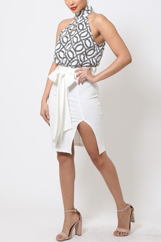 Midi Pencil Skirt Dress W/ Slit Detail