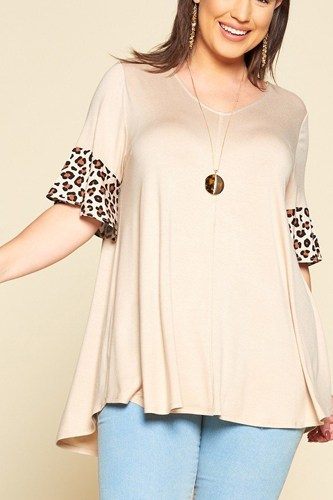 Plus Size Solid Jersey Swing Tunic Top