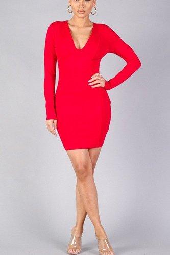 Sexy Long Sleeve Underwire Bodycon Mini Dress