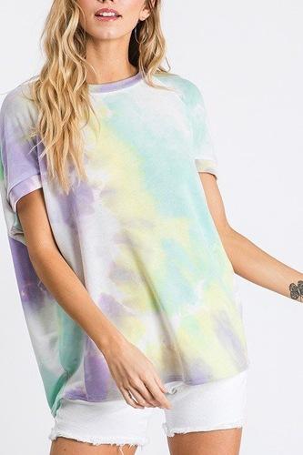 Tie Dye Print Round Neck Top