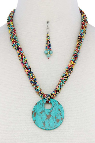 Faux Stone Pendant Seed Bead Necklace