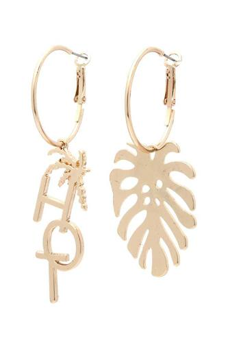 Hot Tropical Leaf Drop Earring