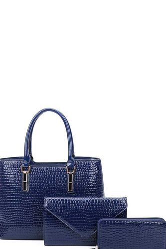 3in1 Glossy Croco Textured Satchel Clutch And Wallet Set