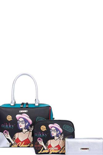 Nikky By Nicole Lee 3in1 Love Your Look Print Satchel Cross Body And Wallet Set