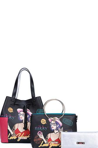 Nikky By Nicole Lee 3in1 Love Your Look Print Satchel Shoulder Bag And Wallet Set