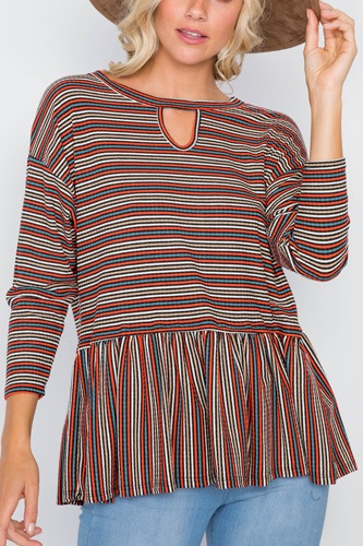 Multi Retro Stripe Front Keyhole Scoop Neck Peplum Top