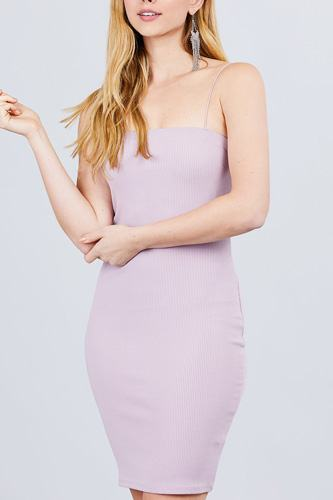 Straight Neck Cami Elastic String Heavy Rib Mini Dress