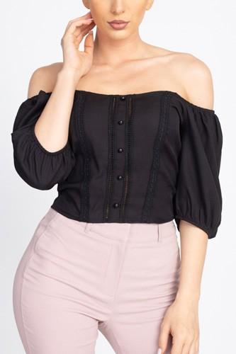 Lace Trim Off Shoulder Crop Top