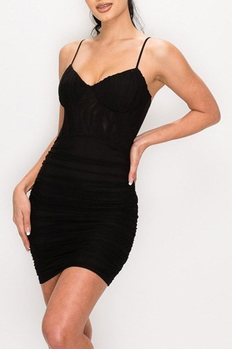 Ruched Mesh Layer Strap Mini Dress