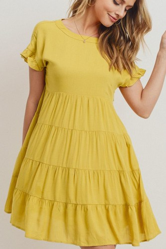 Round Neck Can Can Ruffled Dress