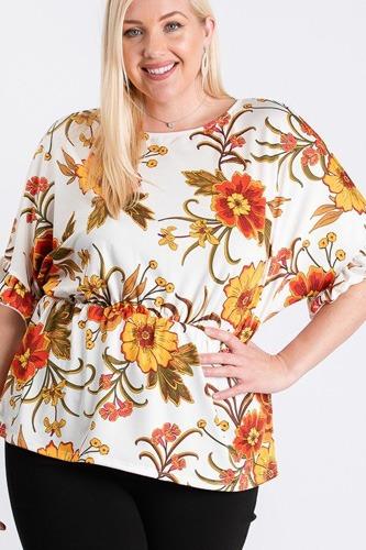 Strap Neckline W Elastic Waistband Floral Top