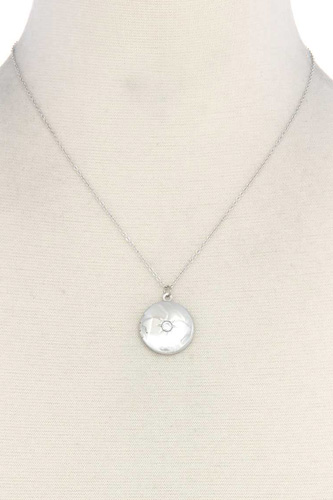 Cubic Zirconia Metal Circle Locket Metal Necklace
