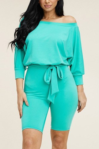 Slouchy Solid French Terry 3/4 Sleeve Romper With Tie Waist