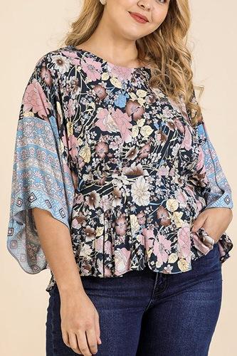 Floral Scarf Mixed Print Kimono Sleeve Round Neck Peplum Hem Top