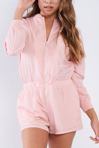 Pink Sporty Long Sleeve Windbreaker Romper