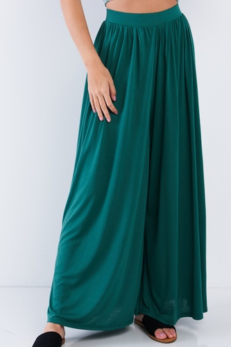Forest Green Wide Leg Maxi Hipster High Waist Pant