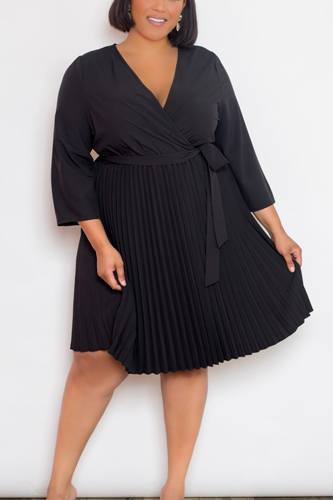 Mini Surplice Pleated Dress