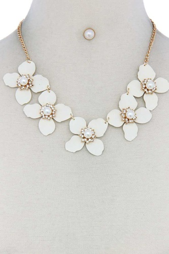 Flower Linked Bib Necklace